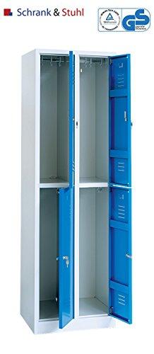 Montiert Doppelstöckige Spinde (Kleiderspind 2x2 Abteile grau/blau TÜV geprüfter Garderobenschrank)