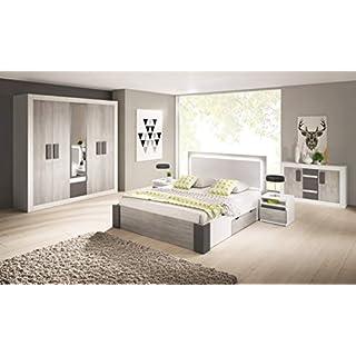 Chambre à Coucher complète Helios scandinave lit 160x200, Tables de Nuit et Commode