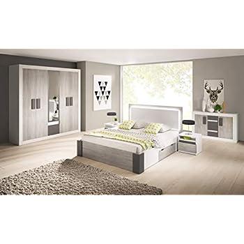 Bon Chambre à Coucher Complète Helios Scandinave Lit 160x200, Tables De Nuit Et  Commode