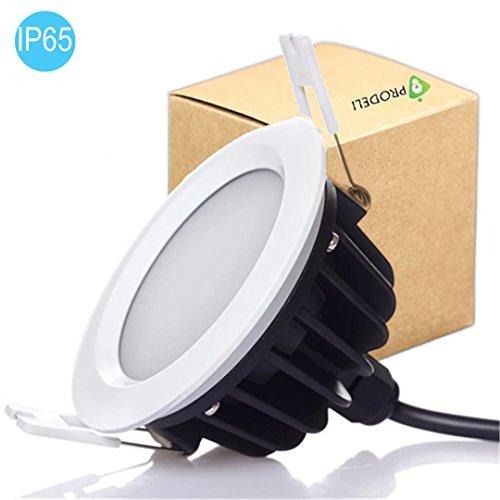 PRODELI LED Downlight Einbauleuchte Deckenleuchte IP65 Wasserdichte Badezimmer Leuchten im Außen- und Innenbereich mit eingebautem LED-Treiber [Dimmbar, 9W AC220-240V, kaltweiß 6000K] -