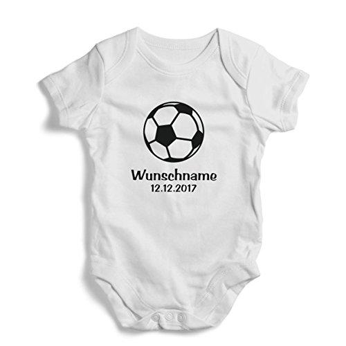Fussball & Wunschname - Baby Body Junge & Mädchen (Weiß / Schwarz)