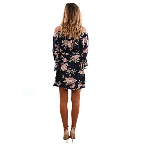 ASCHOEN Damen Casual Minikleid Schulterfrei Kleid Sommerkleid Strandkleid Partykleid Streetwear Abbildung 3