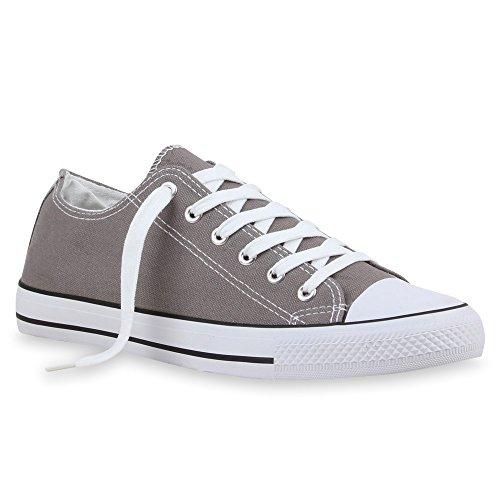 Sportliche Damen Herren Low Sneakers Bequeme Schnürer Freizeit Schuhe Grau