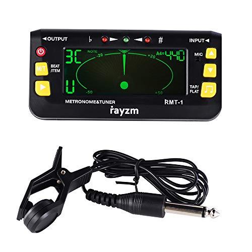 Rayzm Afinador Metrónomo (Metrónomo-sintonizador) para Guitarra/Bajo/Ukulele/Violín/Afinador Cromático, con Clip de Sintonización Opcional, Ajuste del Tiempo del Metrónomo
