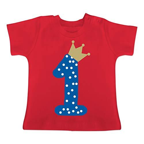 Geburtstag Baby - 1. Geburtstag Krone Junge Erster - 1-3 Monate - Rot - BZ02 - Baby T-Shirt Kurzarm - Run Fun Shirt