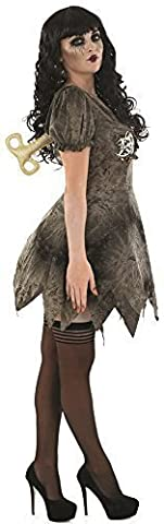 Damen Sexy Tot Stoffpuppe Halloween Kostüm Kleid Outfit EU 36-50 Übergröße - grau, 20-22 (22 Halloween Kostüme)