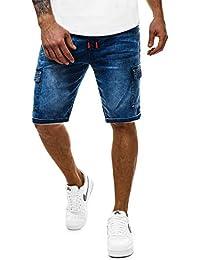 OZONEE Pantaloncini di Jeans Pantaloni Corti Bermuda Denim Uomo  Taglio-Dritto Casual Abbigliamento da Discoteca a8ddfbf13ad