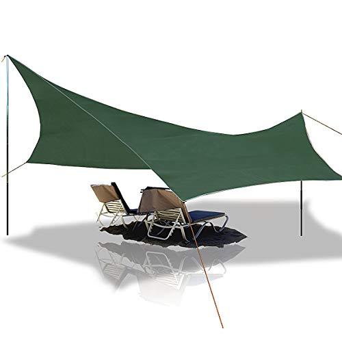 Slimerence Camping Sonnenschutz Zeltplane Camping Regenplane Leichte Wasserdichte Tent Tarp Regenschutz Sonnenschutz für Ourdoor Camping 5 - 6 Personen Faltbare Kleines Volumen Zeltplane Mehrzweck
