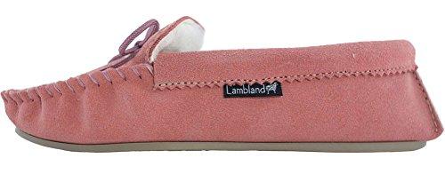 Lambland Mesdames/Femme Rose véritable Mocassin Chaussons en daim avec semelle en PVC Rose