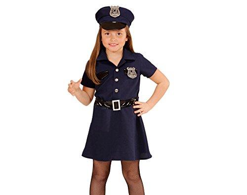 Widmann 49086 - Kinderkostüm Polizistin, Kleid, Gürtel, Hut, Handschellen, Walkie-Talkie, Größe 128