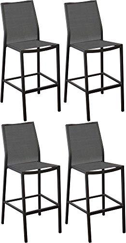 Proloisirs Chaises de Bar en Aluminium Ida (Lot de 4)