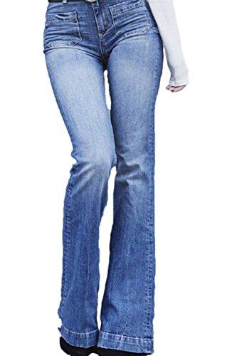 Fanvans De las Mujeres Jeans Denim Pantalones Acampanados Regular Recto Cintura Alta Azul L