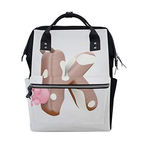 Ungewöhnliche Buchstabe K Cartoon Muster große Kapazität Wickeltaschen Mama Rucksack Multi Funktionen Windel Pflege Tasche Tote Handtasche für Kinder Babypflege Reisen täglich Frauen