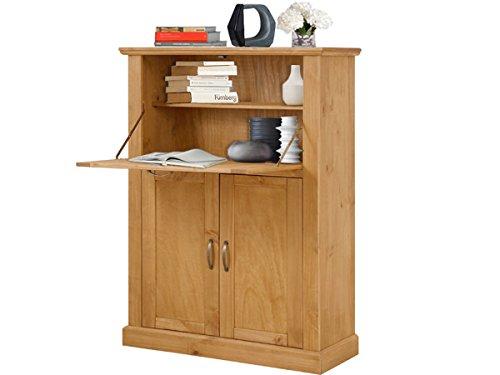 MISCHA Sekretär Schreibtisch Arbeitstisch Computertisch Tisch Büro Breite 88 cm Kiefer massiv gebeizt geölt (Sekretär Kiefer Schreibtisch)