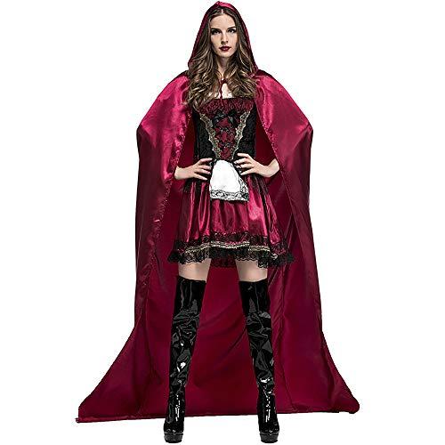 Hukangyu1231 Vestidos De-Caperucita-Roja-Para-Mujer Disfraz De Halloween-Divertido Con Capucha-Vestido De Mascarada Perfecto Para Halloween Damen Halloween Kostüm (Größe : L)