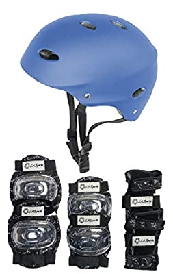 HIKS Products Kids Skate Helmet & 6 Piece Pad Set Ideal for Bmx, Skateboard, Skates And Stunt Scooters Age Guide 3-8 years Boys & Girls in Blue Pink Black and Green