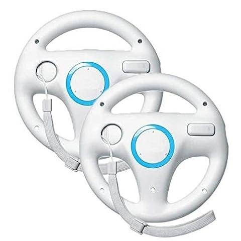 Stoga SVTM01 Generic Wii Controller Weiß Steuerung Mario Kart Racing Wheel Game-Controller für Nintendo Wii Remote Game-White (2