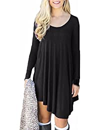 Auxo Mujeres Vestidos Casuales Verano Maxi Dress Camiseta Tops Largos Irregular T-Shirt