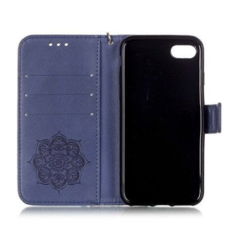 iPhone 8 cover case, Ledowp Apple iPhone 8 Bling Luxury Crystal Diamante in pelle PU a portafoglio, custodia full body campanula modello design custodia magnetica staccabile slot schede PU Flip Cover  Navy Blue