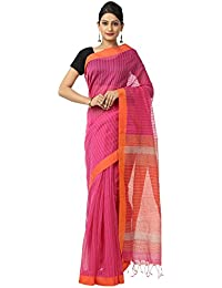 The Weave Traveller Handloom Twist Cotton Silk With Self Stripe Women's Saree With Blouse (Pink, TWT_CS_PNK_103)