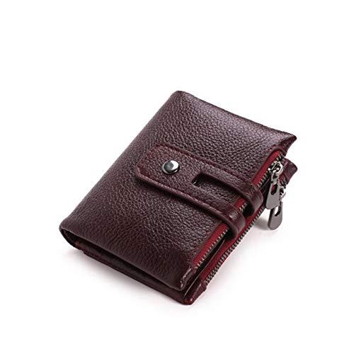Braune Leder Scheckheft Wallet (LAJI Herren Clutch Bag Zipper Wallet Doppelreißverschluss Schnalle Leichte und Bequeme Leder-Card-Pack für Business und Freizeit,Red)
