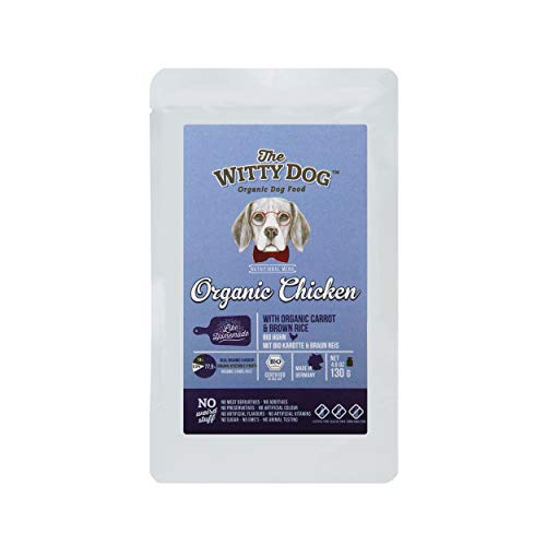 THE WITTY DOG, 100% Bio Zertifiziert Nass- Hundefutter, Komplet Menu: Bio Huhn mit Karotte & Braun Reis, Beutel 15x130g (77,5% Huhn in eigenem Saft gegart, Einzeln Protein, Human Grade)