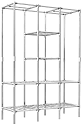 EYEPOWER 400kg Belastbarer XL Kleiderschrank Metall Regal 2 Kleiderstangen 178x128x44,5cm Faltschrank Flur Garderobe