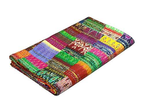 COR Couvre-lit Kantha en patchwork matelassé style vintage/indien/bohémien Taille 228,6 x 274,3 cm