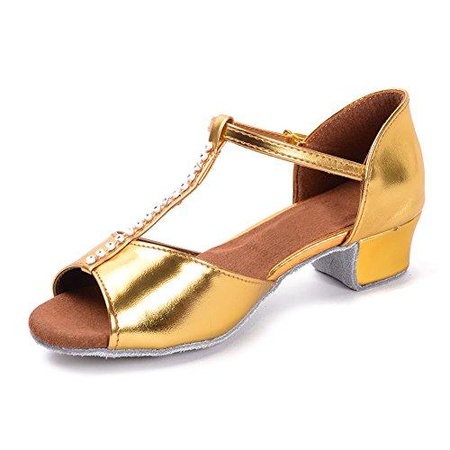 HROYL Mädchen Tanzschuhe/Latin Dance Schuhe Satin Ballsaal Modell-DS-201 Gold