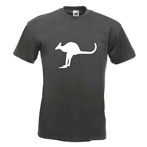 KIWISTAR - Känguru Kangaroo Beuteltier T-Shirt in 15 verschiedenen Farben - Herren Funshirt bedruckt Design Sprüche Spruch Motive Oberteil Baumwolle Print Größe S M L XL XXL Graphit