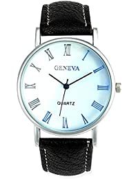 Watches - Geneva Men Watches Blue Ray Glass Quartz Analog Wristwatch Color:Black