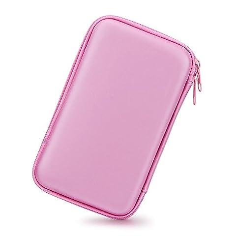 3,5 Zoll EVA Stoßfest Wasserdicht Festplatte, der Travel Case für Externe Festplatte (tragbar, GPS Kamera und externer Akku Pack, Tragbares Ladegerät, Tasche (Rosa)