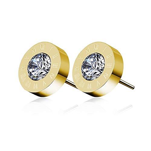 Numeri romani acciaio orecchini con cristalli Swarovski Elements e Argento, colore: Yellow Gold, cod. RomanSteelEarringsYGold