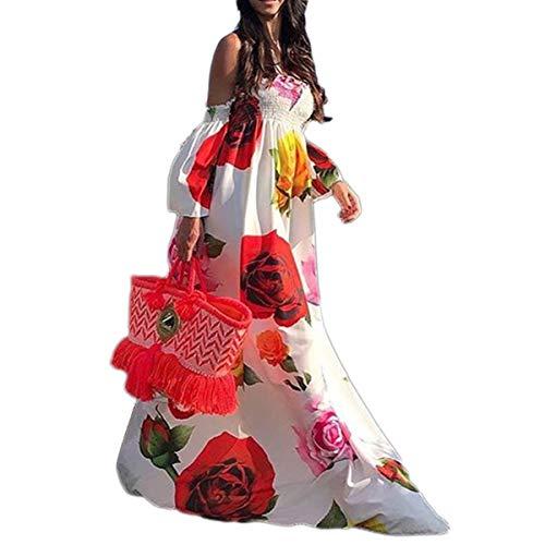 Dünne Blumendruck Lange Maxi Kleid Flare Ärmel Boho Strand Frauen Tube Kleider Sie sehr vorteilhaft (Color : White, Size : M)