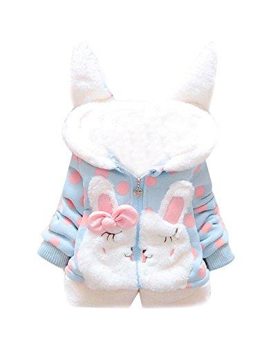 Tkria Baby Mädchen Mäntel -Jacken ,Winter Kinder Kapuzenjacke für Kaninchen Fleecefutter mit Bowknot Mantel für Kinder 1-2 jahre/92 (Die Ansicht Halloween)