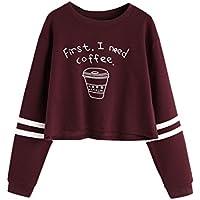 """Vovotrade Encantador Mujer joven Cuello redondo Manga larga Letra Imprimir Casual Camisa de entrenamiento Pull-over Cartas """"First I Need Coffee"""""""