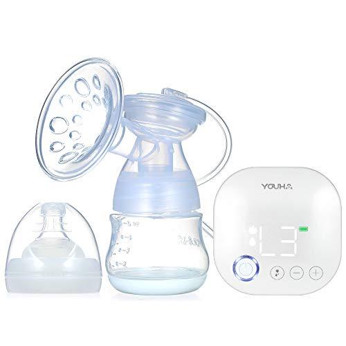 homese Tiralatte elettrico singolo portatile YOUHA Funzione di memoria Massaggio ed espressione e 3 modalità miste 9 livelli Ogni modalità Pompa di allattamento ricaricabile e silenziosa Senza BPA