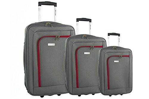 3 Maletas semirrígidas PIERRE CARDIN gris cabina para viajes VS105