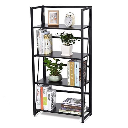ZH Life Folding Storage Rack, 4-Tier Folding Bookshelf Holz und Metall Bücherregal Rack-Aufbewahrungs-Display-Regale für Home Office, Schwarze Oberfläche -