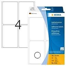 HERMA 2516 Multi-purpose labels 50x75 mm white paper matt hand inscription 128 pcs.