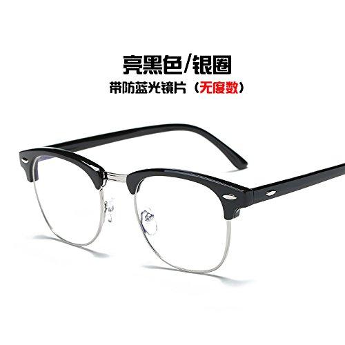 KOMNY Anti Strahlung Brille und blaue Brille frame Tide computer Schutzbrille, Helles Schwarz/Silber Ring (Frame-schutzbrillen)