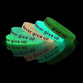 GOGO (Price/10PCS) Never Give up Silicone Wristbands Braccialetti di Gomma, Fluorescente, bomboniere