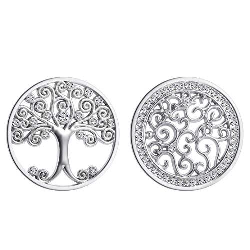 Meilanty 2 Coins 33mm Lebensbaum Zirkonia Anhänger Frauen Schmuck