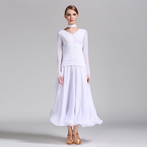 Pendel Flattern Garn Modern Dance Dress Tango und Walzer Tanz Kleid Tanzwettbewerb Rock Langarm Ice Wire Tanz Kostüm,White,S (Classic White Mädchen Kostüm)