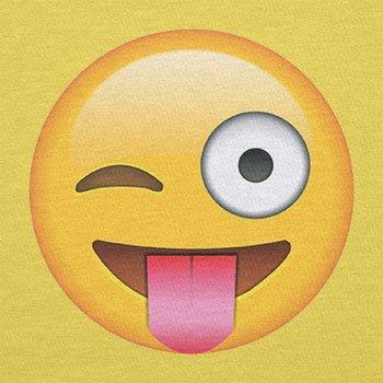 Texlab–Tongue Out Emoji–sacchetto di stoffa Gelb