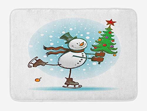 AdaCrazy Schneemann-Badematte, handbemalter Eislauf-Schneemann mit Weihnachtsbaum und Hut, kalter Winterschnee, Flauschige Badezimmer-Deko-Matte (mit Antirutsch-Futter), Flanell-Badematte 40x60cm