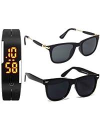 Sheomy UV Protected Square Unisex Wayfarer Sunglasses (3IN1-0011|55mm|Black)