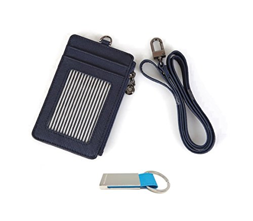 genuine-leather-id-window-credit-card-badge-holder-zipper-holder-purse-with-neck-strap-keychain-navy
