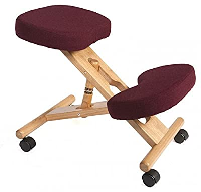 Ergonomic Kneeling Chair - Burgundy - Suitable for Light Office Use to Promote Good Posture - low-cost UK light store.