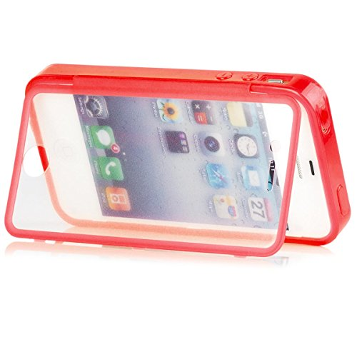 iCues Apple iPhone 4/4S |  Touch TPU Case Klar | Outdoor Dickes Hardcase Stoßfest Militär Lifeproof Männer Jungs 360 Grad Display Full Body Rundum beidseitig Komplett vorne hinten double Front Silikon Solid Red
